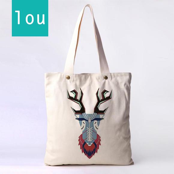 lou创意生活帆布包白色拉链包手绘学生包环保袋购物袋