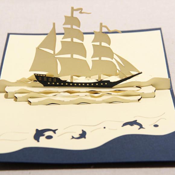 韩国可爱帆船手工立体一帆风顺员工爱人生日卡创意对折贺卡片定制