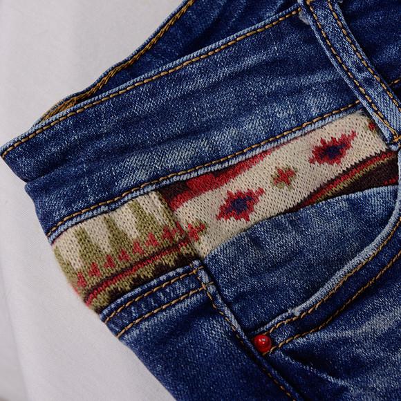 一城画一 2014秋装新款毛织拼接文艺风修身休闲牛仔长裤433n4097图片