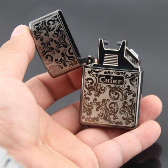 包邮闪电弧usb充电打火机 首领富贵花超薄火机电磁脉冲电子点烟器