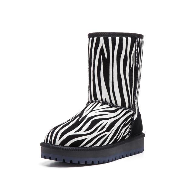 vivala雪地靴 女 斑马花纹中筒女靴子 防水透气保暖女