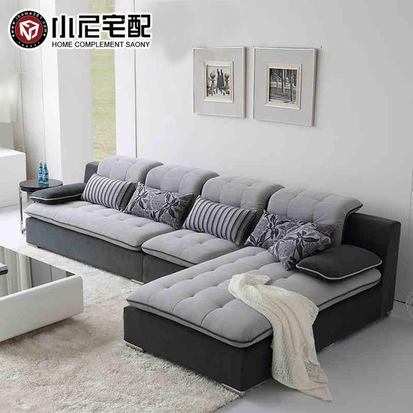 小尼宅配 大小户型沙发 现代简约沙发客厅 l型组合布艺沙发可拆洗