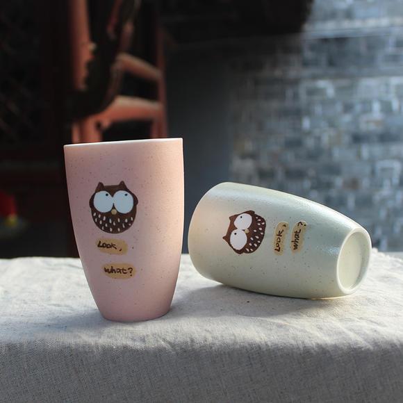 【为思礼 小清新】情侣对杯 手绘雕刻 高档创意个性陶瓷杯 猫头鹰情侣