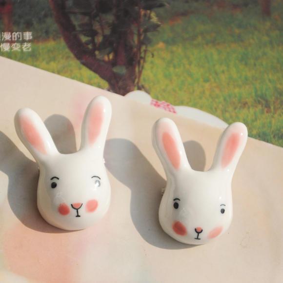纯粹原创景德镇手工陶瓷饰品 原创卡通立体胸针小兔狐狸胸章小清新 女