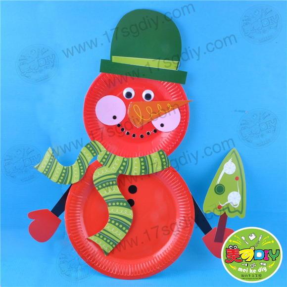 雪人纸盘 节日手工diy材料幼儿园手工材料批发儿童益智趣味礼物