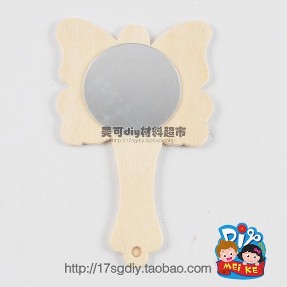 白坯木质卡通镜子幼儿园儿童手工制作diy批发 美可创意益智玩具