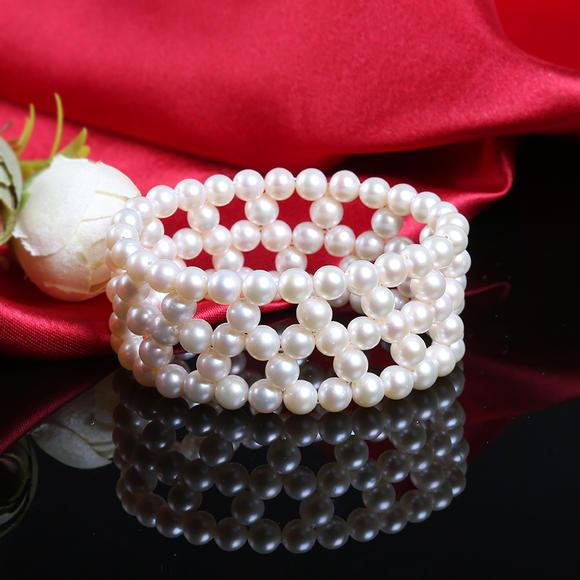 渭塘珍珠 天然淡水珍珠手链 手镯 三排花式珍珠手链5