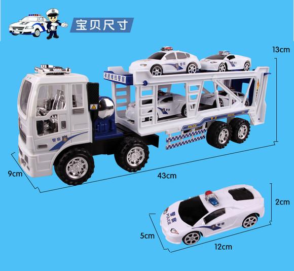 包郵兒童慣性玩具車 超級雙層警車大拖車組合 大卡車