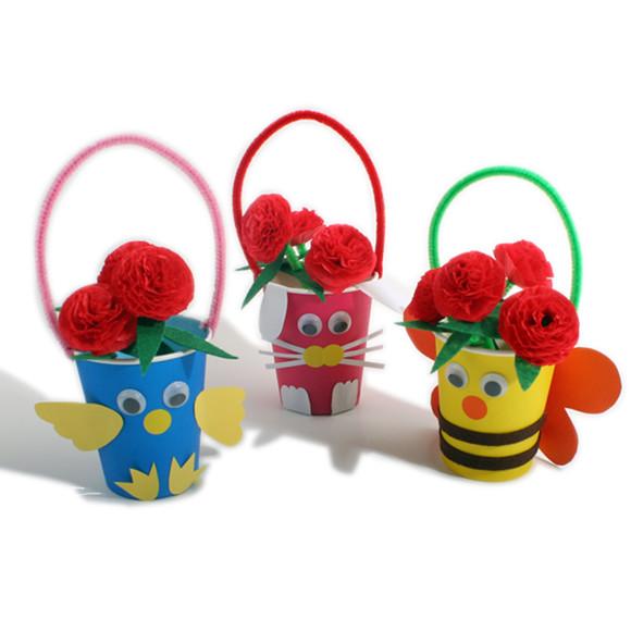艺趣 母亲节礼品 儿童纸杯制作小花篮图片