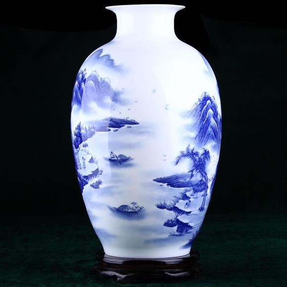 青花瓷手绘陶瓷器花瓶 家居饰品摆件客厅餐厅装饰工艺