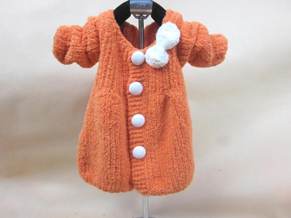【鸿与然】娃娃衣 手工编织珊瑚绒毛线女童毛衣外套