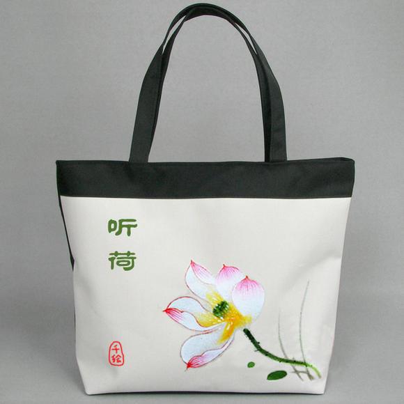 嬌蘭千繪帆布包單肩包女包手繪包中國民族風水墨荷花