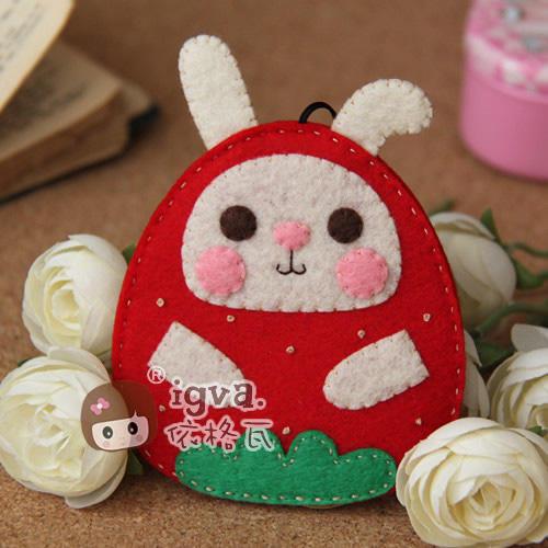 依格瓦 不织布材料包 布织布 diy手工 满包邮 草莓兔小肥钥匙包