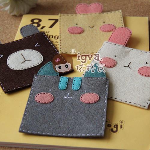 不织布 材料包 布织布 动物不织布杯垫一套手工布艺diy材料包