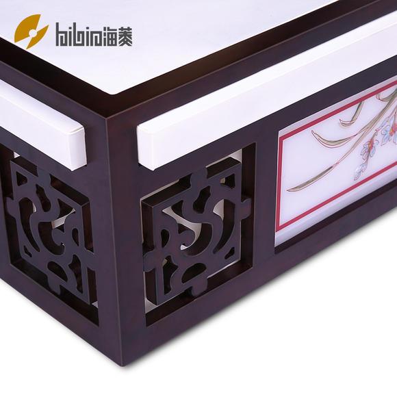 海菱中式吸顶灯 明清古典正方形实木小卧镂空雕花羊皮