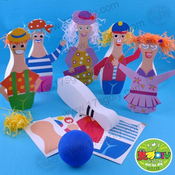创意人物保龄球 幼儿园手工diy材料批发美可儿童游戏创意玩具