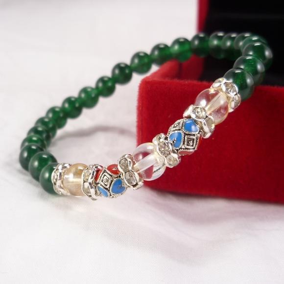 手链8mm绿玛瑙间水晶天然diy潘多拉单圈a手链女配饰手串braceletsv手链塑花亭图片