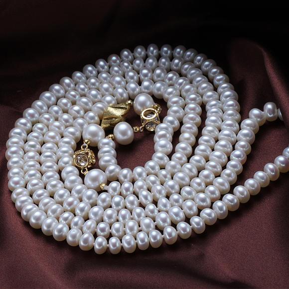 星月明珠 玲珑 花式近圆无暇珍珠毛衣链