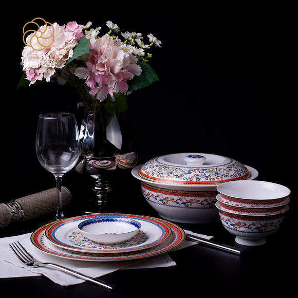 墨色 梵莛 高档骨瓷餐具套装碗 欧式日用送礼陶瓷器创意碗盘56头 梵莛