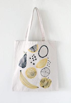 独立设计师|手工制作|全棉手绘拥抱帆布包购物袋