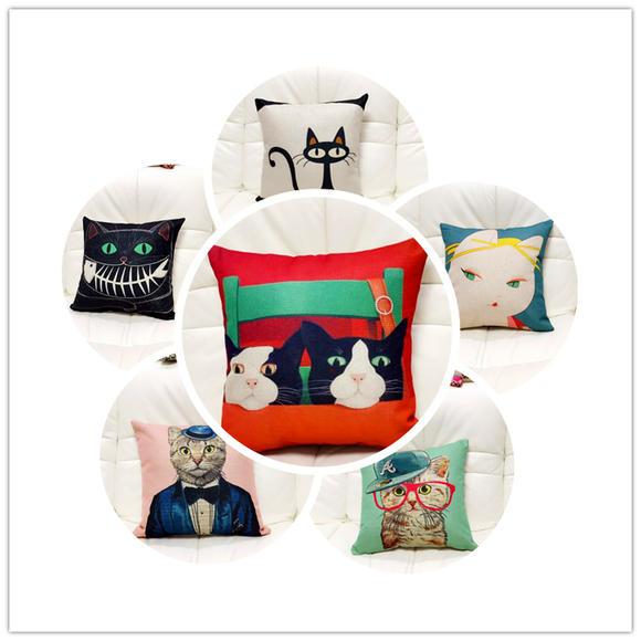 睡货动物小猫卡通个性亚麻棉麻抱枕靠垫沙发布艺靠背含芯套靠枕