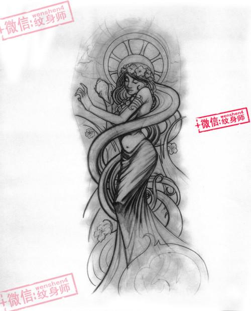 花臂 黑白 欧美 恐怖 - 纹身图案图片