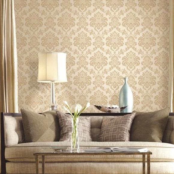 欧式立体压纹壁纸 3d丝绸刻花客厅卧室满铺 大马士革电视背景墙纸