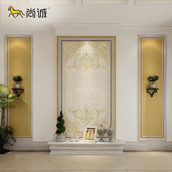 尚诚 玄关背景墙瓷砖欧式客厅走廊过道仿古微晶石3d壁画 金香纹