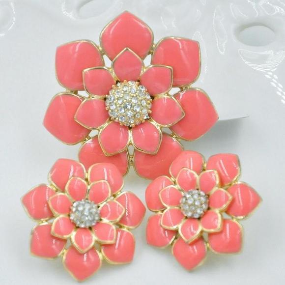 【sheboss】西洋古董首饰vintage英国80年代正品粉色釉彩花朵套装