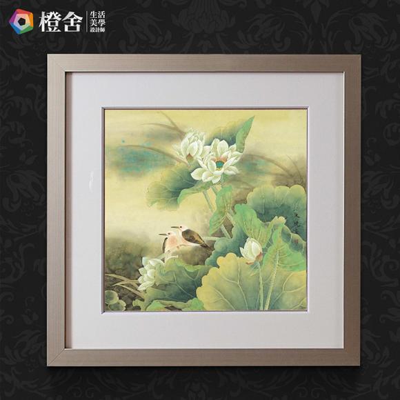 原作版画新中式客厅装饰画 带框国画花鸟画挂画 朱晓作品相守相望