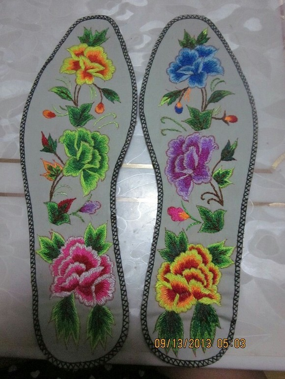 牡丹图案绣花鞋垫图案