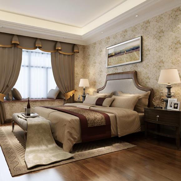 简约美式 纯纸 浮生若梦系列壁纸 卧室背景墙