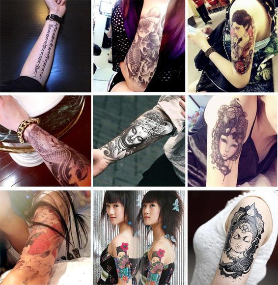 特价潮爆 纹身贴花臂防水男女鲤鱼花腿佛教骷髅刺青图腾纹身贴纸