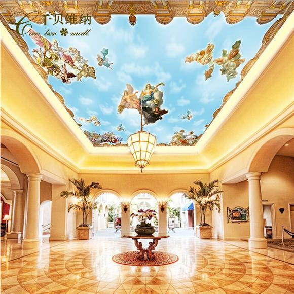 千贝 大型壁画 欧式天棚墙纸 屋顶吊顶壁纸 客厅卧室天空墙纸壁画