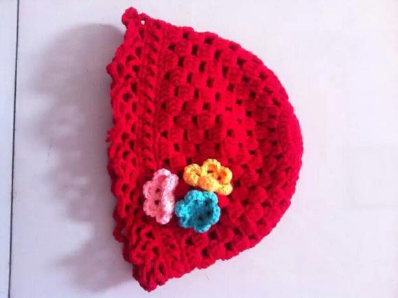 商品详情 棉线钩织宝宝帽子,可根据宝宝头围的大小,喜欢的颜色勾