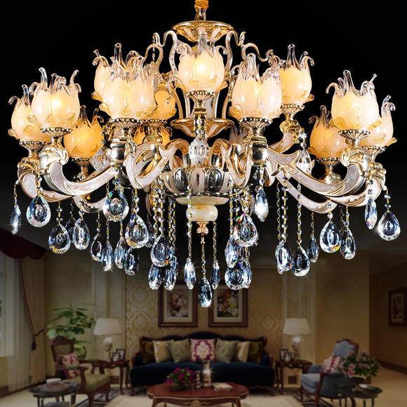 欧式奢华 玉石吊灯 水晶灯别墅客厅餐厅卧室 水晶吊灯