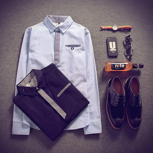 男士v领秊(hzx���_【恒优】 男式新款衬衫hzxf919013