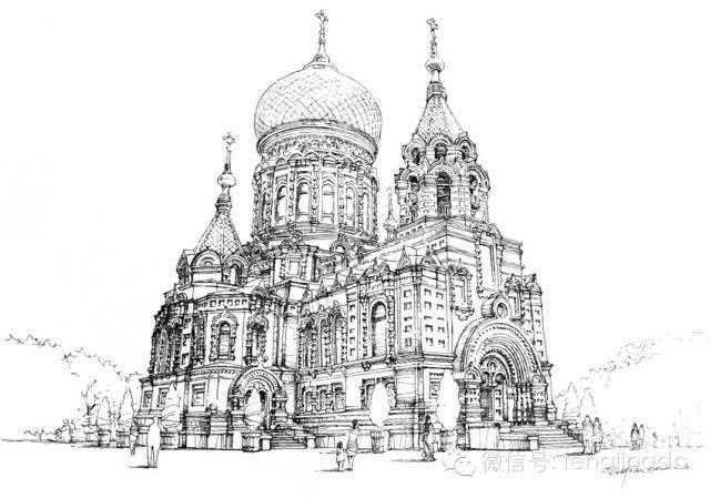 首套《笔尖下的哈尔滨》手绘明信片,共包括12个老建筑,圣·索菲亚