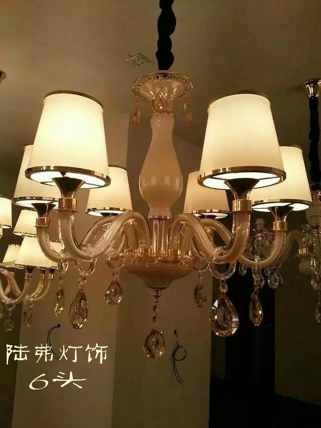 陆弗欧式蜡烛水晶灯带罩吊灯lf6028