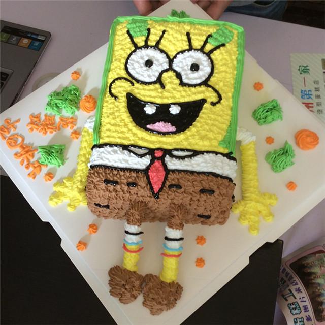 a梦造型蛋糕工作室---平面海绵宝宝造型蛋糕
