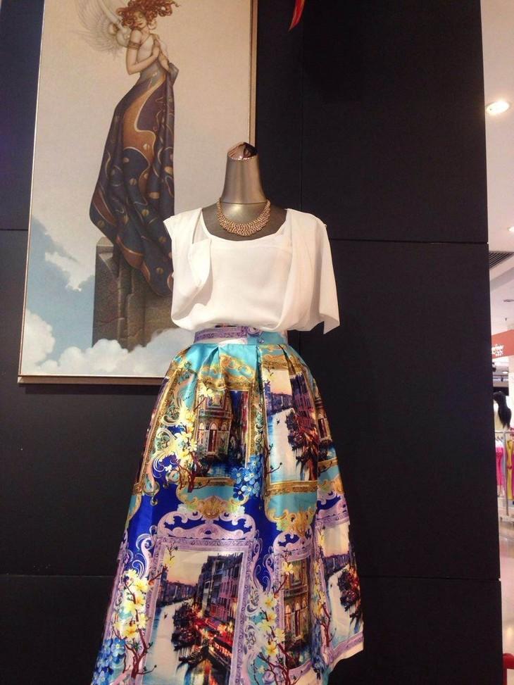 2015夏季新款欧式印花图案长裙