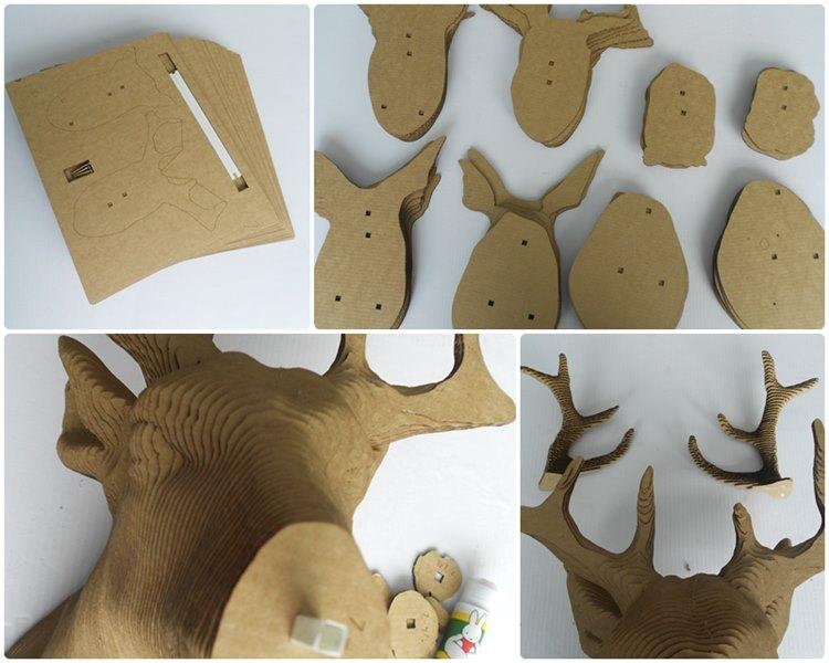 鹿头立体拼图步骤