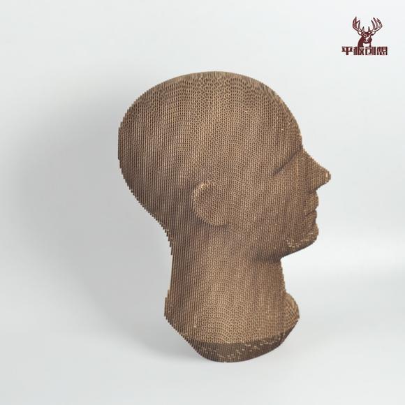 人头纸模 diy创意纸板模型 3d瓦楞纸模手工套件 多色