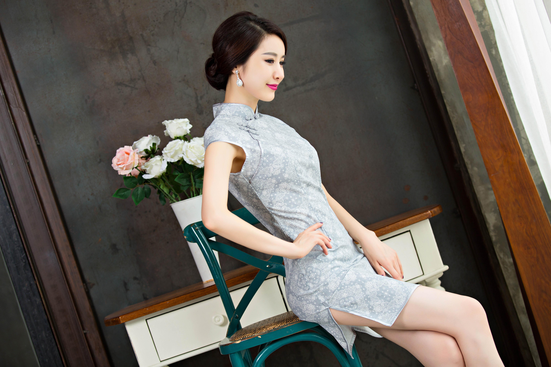 棉麻2015夏装短款浅灰蕾丝花纹修身优雅旗袍短裙女