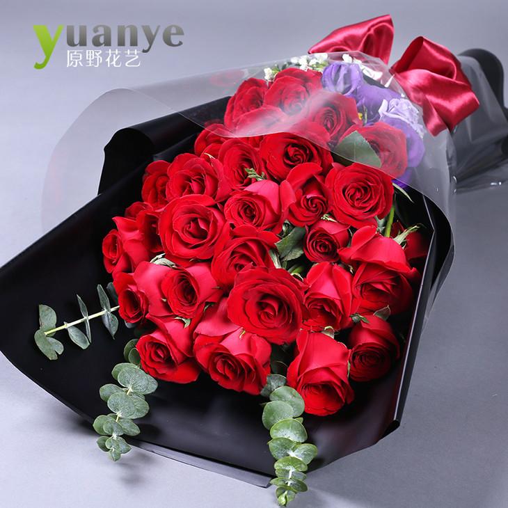 范秦恩 高端33朵单面卡罗拉红玫瑰鲜花花束礼物 单面33朵红玫瑰尤加利