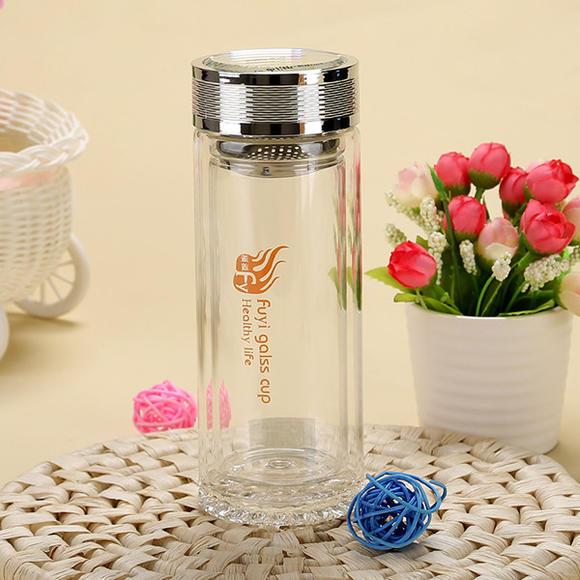 福溢高档雕花水晶玻璃杯 便携保温双层带盖过滤刻花