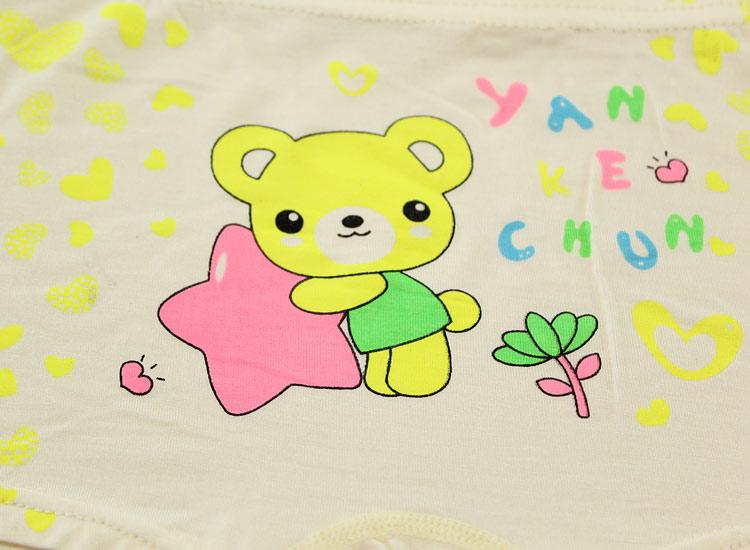 爱心小熊女童平角裤大童夏季薄款环保印花小孩内裤棉