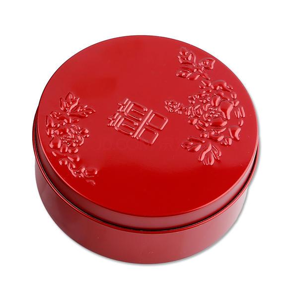 婚庆用品 喜糖盒 圆形双喜牡丹 铁质 1个