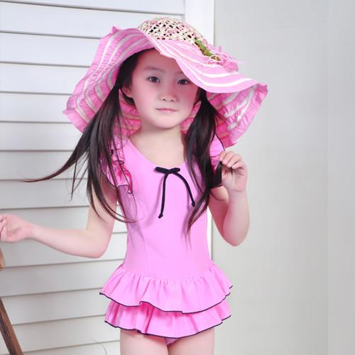韩国新款儿童泳衣女童连体裙式游泳衣纯色可爱小公主宝宝泳装1206