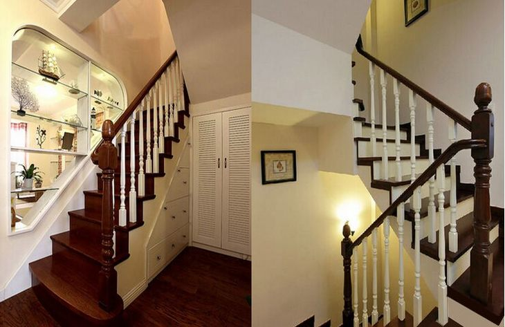别墅 楼梯扶手实木 楼梯踏步板实木 木楼梯踏步板定制